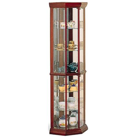 cherry wood curio cabinet coaster furniture 3393 solid wood cherry glass corner