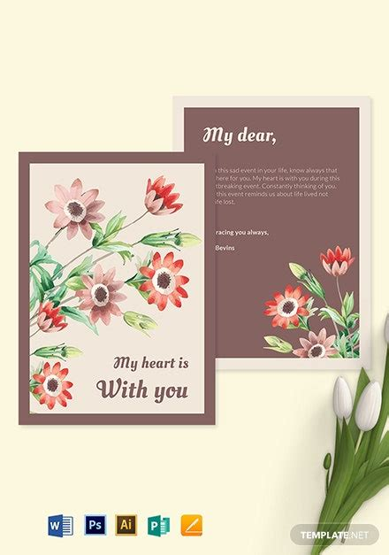 sympathy card template word psd apple pages