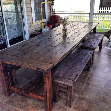 Patio Table With Bench Seating by Outdoor Table With Benches 11ft Diy In 2019