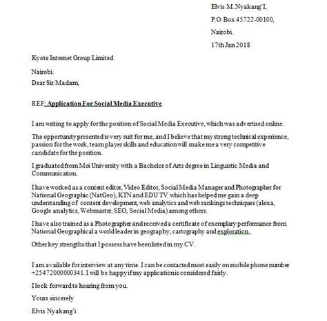 sample cover letter    write  job application