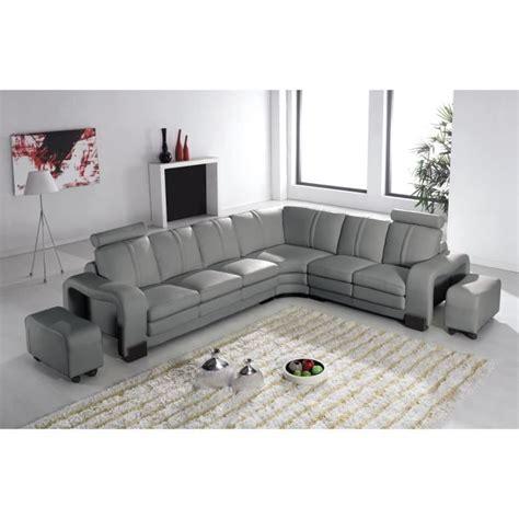 canapé d angle convertible 7 places canapé d 39 angle en cuir gris avec appuie tête relax havane