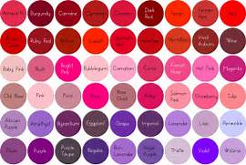 Colour Chart  Red Pink...