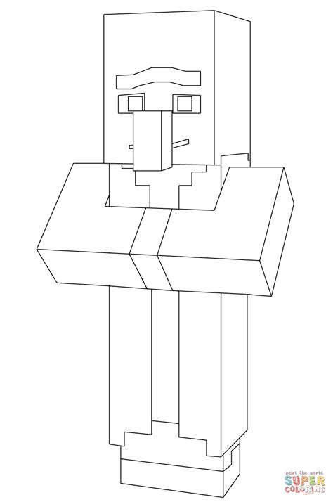 minecraft villager coloring page  printable coloring pages