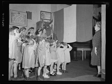 photos of new yorkers after learning about the d day 412   New York New York. June 6 1944. Preschool children at LEcole maternelle francais on D day saluting the French flag