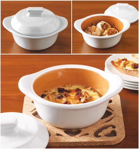 covered ceramic baker      roasting garlic  serving warm dips