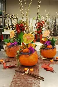 Tete De Citrouille Pour Halloween : atelier floral citrouille et fleurs de saison une jolie d coration pour l ~ Melissatoandfro.com Idées de Décoration