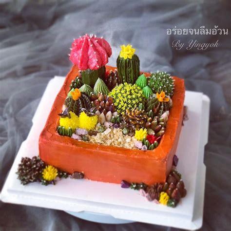 ปักพินโดย Yingyok Le ใน Cactus Cake. เค้กแคคตัส