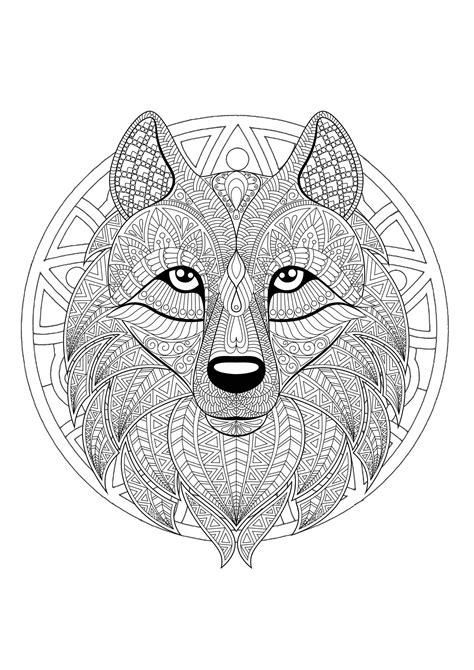 mandala  geometric patterns  wolf head full  complex details malas adult coloring pages