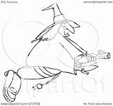 Vacuum Coloring Witch Halloween Clipart Flying Vector Outlined Chubby Illustration Royalty Cartoon Djart Pages Printable Getcolorings Outline sketch template
