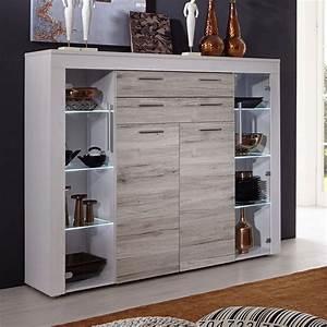 Buffet Haut Contemporain : meuble buffet haut couleur chne blanc et gris contemporain ~ Teatrodelosmanantiales.com Idées de Décoration