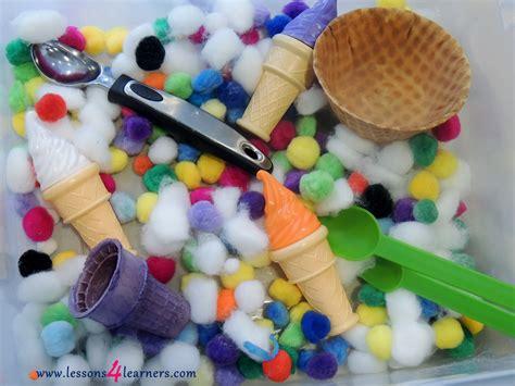 ice cream sensory bin wwwlessonslearnerscom