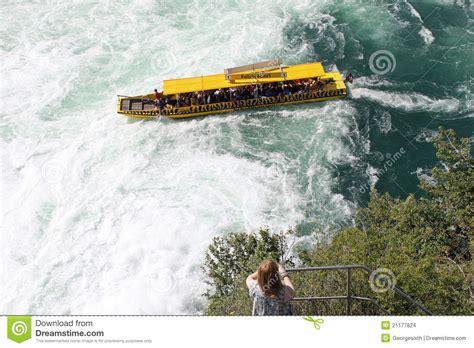 Boat Ride Rhine Falls Switzerland by Cruise Boat At Rhine Falls Switzerland Editorial Stock