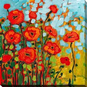 red poppies i contemporary fine art prints by With kitchen cabinets lowes with red poppy canvas wall art