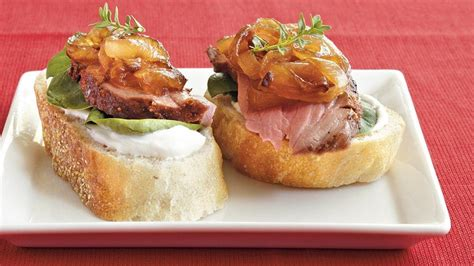 beef canapes recipes beef and caramelized canapés recipe from pillsbury com
