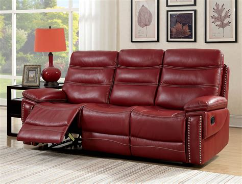Leather Reclining Loveseat With Center Console by Artemis Contemporary Faux Leather Reclining Sofa With