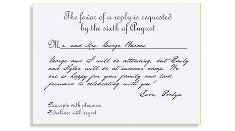 rsvp cards for weddings wording rsvp etiquette traditional favor accepts regrets placement