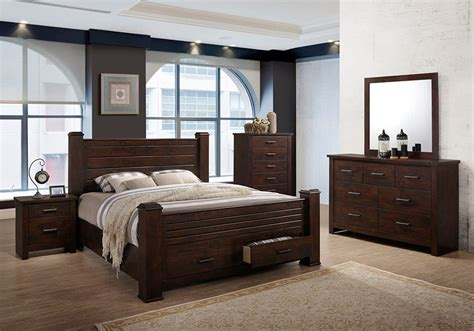brockett dark brown king bedroom set louisville overstock warehouse