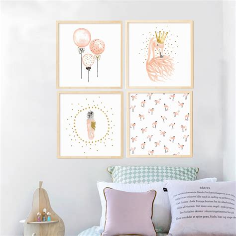 childrens bedroom wall decorations aliexpress com buy pink flamingo canvas painting