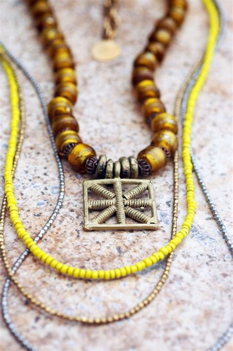 Long Everyday Yellow Glass and Mixed Metals Bohemian ...