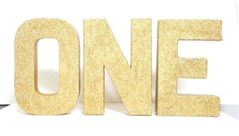 gold   color glittered   tall  letters