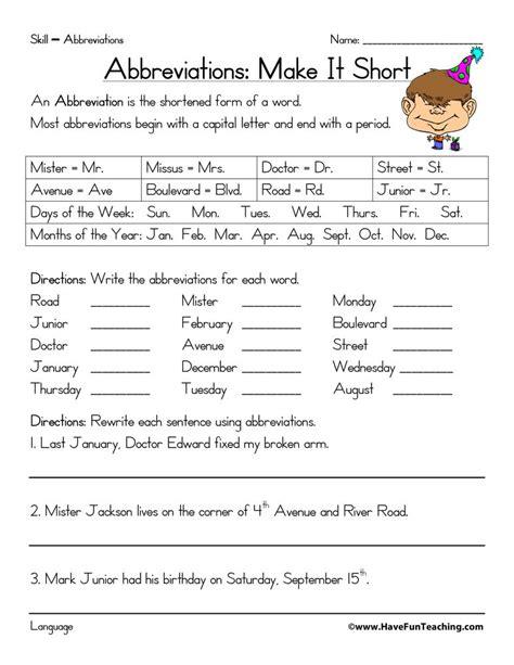 abbreviations worksheet education 2nd grade activities