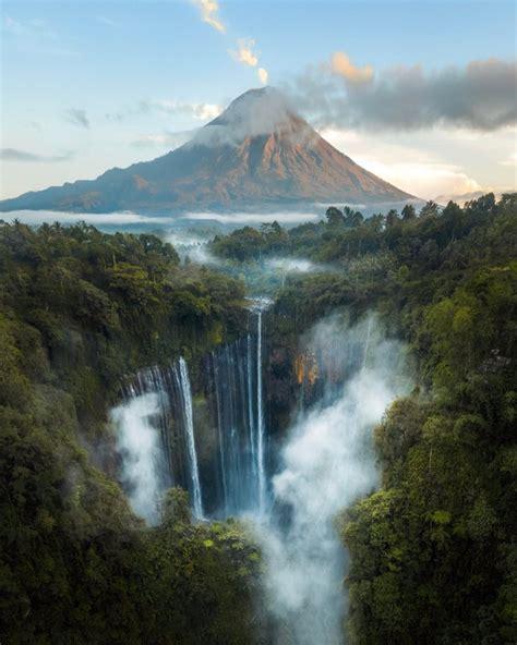tumpak sewu waterfall  sunrise  mt semeru