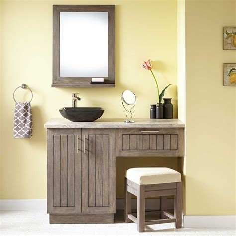 Vanity Area In Bathroom by 48 Quot Montara Teak Vessel Sink Vanity With Makeup Area