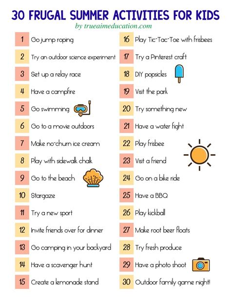 30 frugal summer activities a free printable