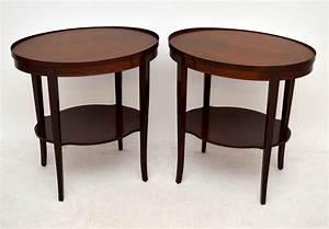 Antike Tische Rund : paar ovale beistelltische antik mahagoni ~ Frokenaadalensverden.com Haus und Dekorationen