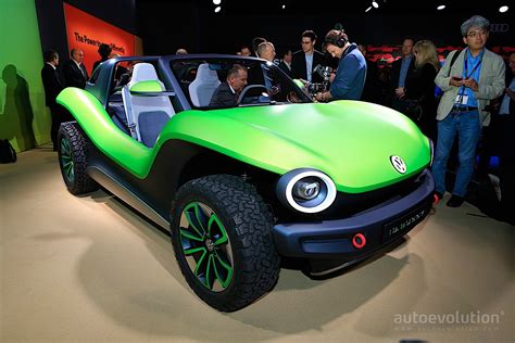 volkswagen id buggy   speck  green beach fun
