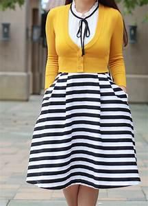 Striped Midi Skirt Mustard Crop Cardigan Black Bow Pumps
