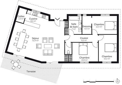 plan de maison 3 chambres plan maison en v avec 3 chambres ooreka