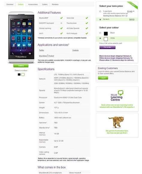 official z10 pricing and specs from telus blackberry forums at crackberry