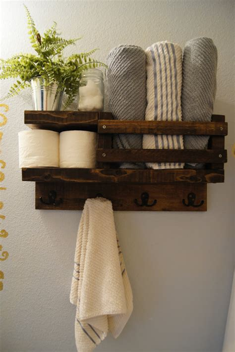 Bathroom Shelf With Towel Bar Wood by Bath Towel Shelf Bathroom Wood Shelf Towel By Madisonmadedecor