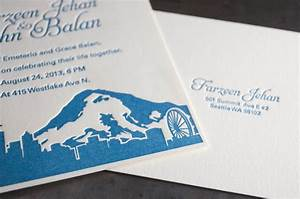 Seattle skyline wedding invitations pike street press for Letterpress wedding invitations seattle