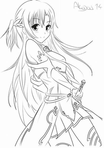 Coloring Pages Sword Asuna Lineart Anime Sketch