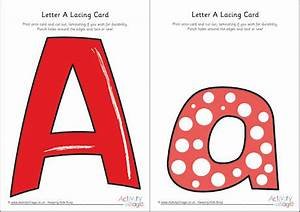 letter a lacing card With letter lacing cards