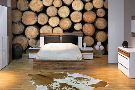 papier peint de chambre papier peint chambre rondins de bois izoa