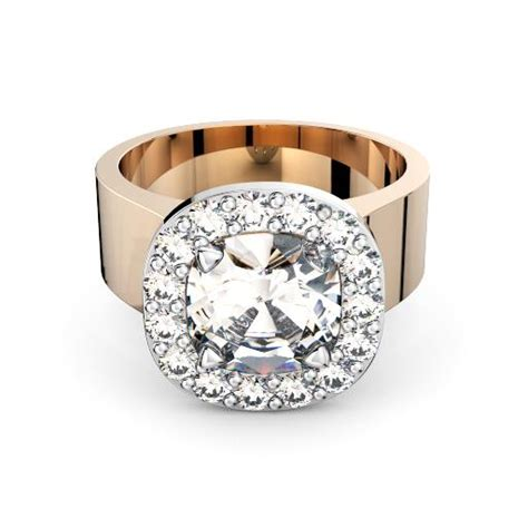 18k white gold cushion diamond in halo setting with wide band engagement ring perth diamond