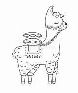Llama Coloring Alpaca Outline Lama Doodle Silhouette Vector Colouring Kawaii Drawn Elements Vectors Cactus Popular Coloringhome sketch template