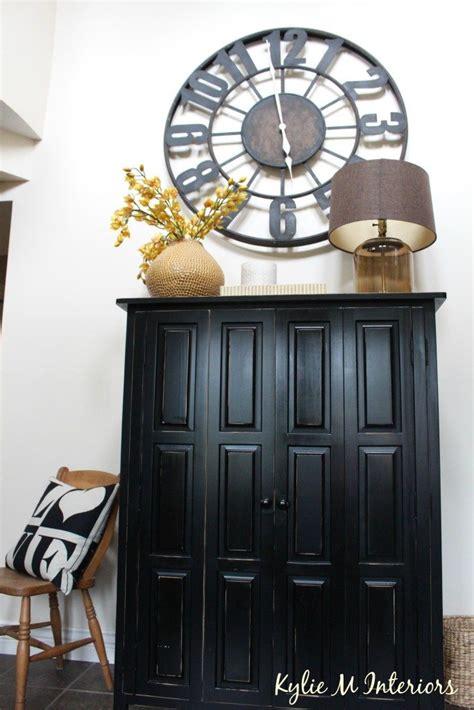 entryway  foyer storage  black armoire large metal