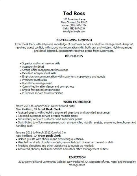 Front Desk Clerk Resume Skills by Professional Front Desk Clerk Templates To Showcase Your