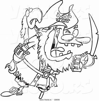 Pirate Coloring Outline Cartoon Bird Tough Leishman