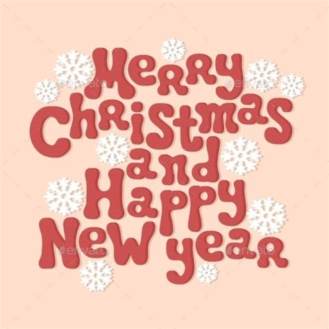 merry christmas  happy  year lettering fonts logos