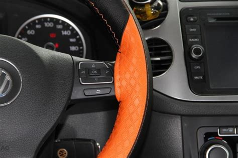 black and orange steering wheel cover buy black orange leather 47018h steering wheel cover for