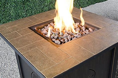 Bond Lari Outdoor Gas Fire Pit Table With Antique Wooden