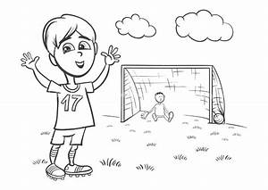 But Foot Enfant : black and white cartoon illustration of cute boy playing football or soccer for coloring book ~ Teatrodelosmanantiales.com Idées de Décoration