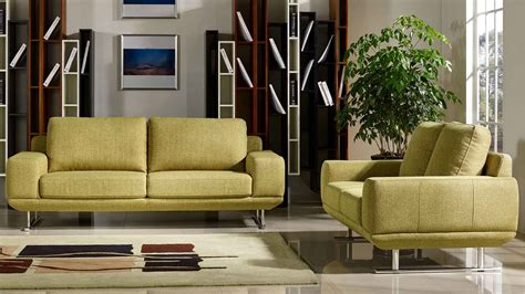 modern sofa and loveseat sets modern chartreuse fabric della sofa and loveseat set