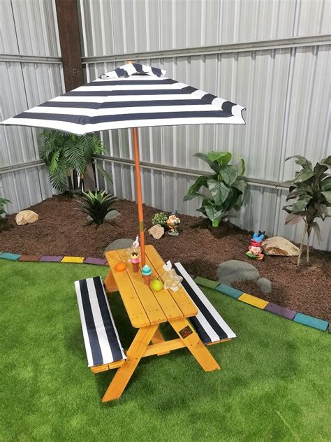kids picnic table  umbrella hide seek kids