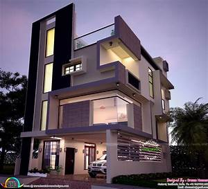 30x40 Contemporary Three Storied Home Kerala Design And
